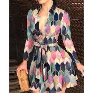 CBR stainglass multi color print button up dress